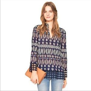 TORY BURCH   Crochet Trim Print Tunic Size 4